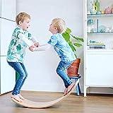 YDBET Kinderfeets Original Holz Balance Board Gebogene Platte Kinderboard Schwebebalken für Kleinkinder Kinder Jugendliche Erwachsene - Natürliche -