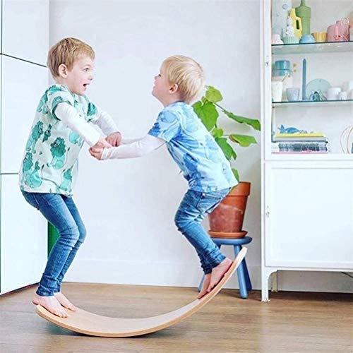 Seesaw curvilínea de yoga para niños Tabla de equilibrio de madera Waldorf Wobble Crea un sentido de equilibrio Como balancín Túnel Barco Rocker Slide Balance de mesa - Juguetes educativos