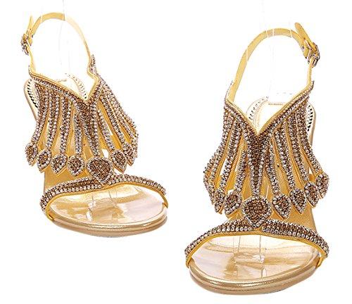 Honeystore Damen's Handgemacht Schichten Strass Stöckel Absatz Sandalen Gold