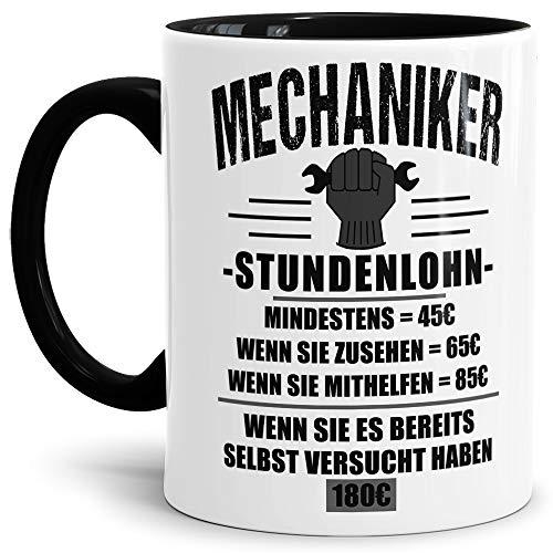 """KFZ Mechaniker-Tasse\""""Mechaniker Stundenlohn\"""" Beruf/Auto/Lustig/Spruch/Geschenk-Idee/Arbeit/Innen & Henkel Schwarz"""