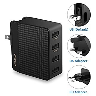 PISEN Travel Adaptor US/UK/EU Universal USB Charger Plug 20W 4-Port Wall Charger with Interchangeable Adapter for iPhone iPad Android Samsung Phones, Tablets and Kindle (Black)