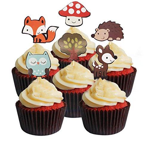 Cupcake Kuchen Topper 24/Set, niedliche Dinosaurier und Baum Mottoparty Deko Cupcake Topper - Tree Animals - Kit Tea Tree
