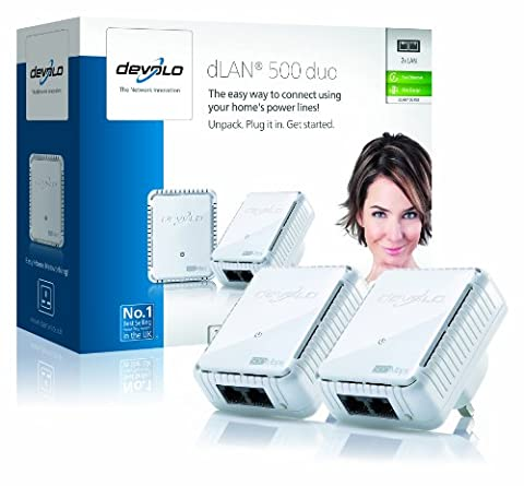 devolo dLAN 500 duo Powerline Starter Kit (500 Mbps, 2 x PLC Homeplug Adapter, 2 x LAN Ports, Compact Design, Internet Signal Booster, Ethernet Access Over Power Line, Power Save Technology) -