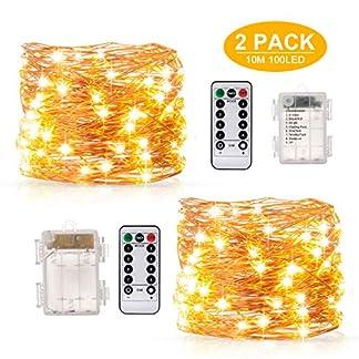 2 x Luces de hadas String10M 100LED Luces de cadena con pilas, para interiores/exteriores/Navidad/bodas y dormitorios