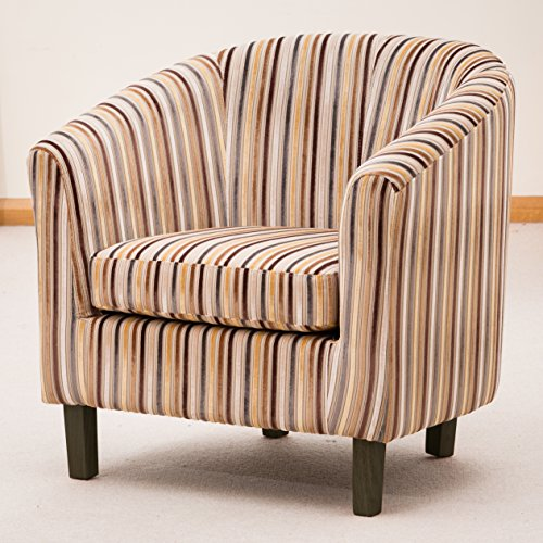 Brand New Amboise Striped Fabric Tub Chair/Armchair Seating – Grey ...