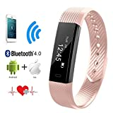 Heart Rate Monitor, QIMAOO Bluetooth 4.0 Fitness Activity Tracker Wrist Band Bracelet Smart Watch Wristband with Health Sleep Monitor/Pedometer/Calorier for Android IOS and above Smart Phones (Pink)
