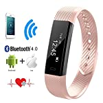 Heart Rate Monitor QIMAOO Bluetooth 40 Fitness Activity Tracker Wrist Band Bracelet Smart Watch Wristband With Health Sleep MonitorPedometerCalorier For Android IOS And Above Smart Phones Pink