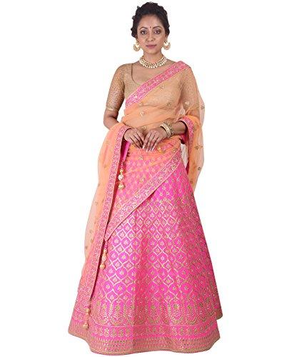 Indian Ethnicwear Bollywood Pakistani Wedding Pink A-Line Lehenga Semi-stitched-DIVISL019