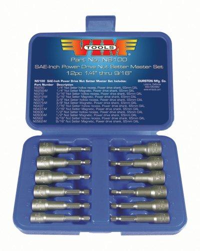 Vim Tools NS10012SAE Power Drive Nut Setter mit magnetischer und Hollow Point Treiber (Magnetische Nut-treiber)