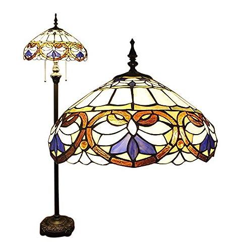 16 Inch Vintage European Pastoral Elegant Luxury Creative Handmade Stained Glass Floor Lamp