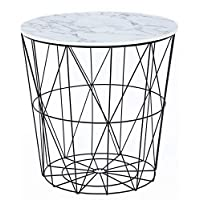 Carousel Home and Gifts Contemporary Black Metal Side Table With Marble Effect Top
