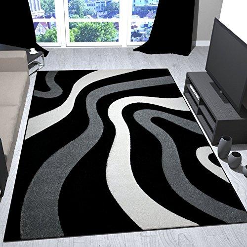 Salón Alfombra Diseño Negro Gris con ondas patrón Friseé Zambaiti PHC suave–VIMODA, medidas: 160x 230cm...