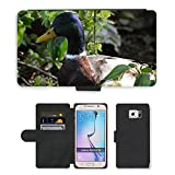 hello-mobile PU Leather Case Coque housse Smartphone Flip Bag Cover Protection // M00136321 Patos Salvajes Aves Acuáticas Aves // Samsung Galaxy S6 (Not Fits S6 Edge)