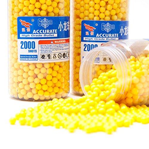"""Goods & Gadgets 2000\""""High Grade Softair BB\'s 6mm Kaliber Softairkugeln 0.12g Munition Kugeln gelb"""