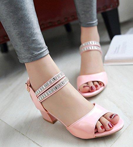 Aisun Damen Knöchelriemchen Strass Peep-Toe Blockabsatz Sandalen Pumps Pink
