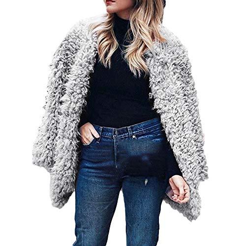 Quaan-Frau Kleider Frau Mode Sexy Winter Warm Faux Pelz Lange Ärmel Solide Jacke Oberteile Mantel Jacken Niedlich Weich Gemütlich atmungsaktiv Beiläufig draußen Prinzessin Sweatshirt