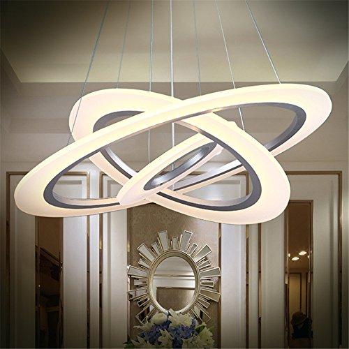 70W LED Modern Acryl Pendelleuchte Drei Ringe Deckenlampe Kreative Kronleuchter Warmweiß Lüster SMD-Lampe Perlen Hängeleuchte (70W Warmweiß Drei Ringe)