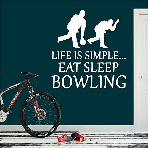 Aizaixinli Leben Bowling Aufkleber Essen Schlaf Applique Sport Ball Art Deco Wohnkultur Abnehmbare Vinyl Kindergarten Kinderzimmer Wandaufkleber 58 * 60 Cm Bowling-art-deco