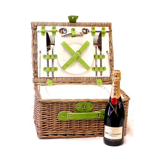 75cl Moet et Chandon Champagne in a Green Chiller Deluxe 2 Person Luxury Picnic Hamper Basket - Gift ideas for Valentines, Mothers Day, Birthday, Wedding, Anniversary, Business and Corporate Gifts