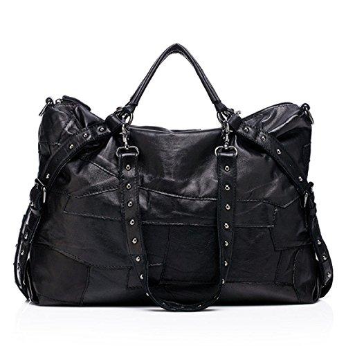 Schuhe Party Retro Damen Mode Umhängetasche Handtasche Messenger Bag Große Tasche Black