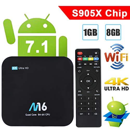 TV Box Android 7 1 - VIDEN Smart TV Box Dernière Amlogic S905X Quad-Core,  1Go RAM & 8Go ROM, 4K UHD H 265, WiFi Lecteur Multimédia pour