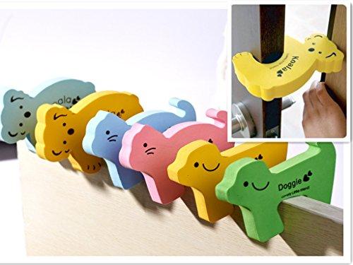 SwirlColor 6 pezzi di Finger bambini belli sicurezza Pinch fumetto di sicurezza del bambino animale Porta Protector Stopper ragazzi della porta Jammer arresto di portello Guard Set