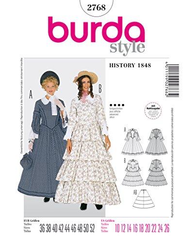 Burda 2768 Schnittmuster KostŸm Fasching Karneval Biedermeier-Kleid (Damen, Gr, 36 - 52) Level 4...