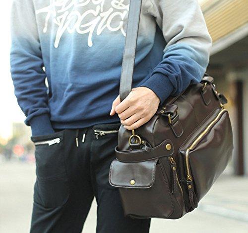 Minetom Mens Casual Messenger Bag Uomo Unisex Borsa A Tracolla Borsa A Tracolla In Pelle Borsa A Tracolla Borsa Da Viaggio Grande Per La Scuola Affari Marrone