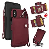 TAITOU iPhone XSMax 6.5' Case, Hand Sling Design Combined Armor Slim Wallet Cover...