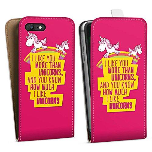 Apple iPhone X Silikon Hülle Case Schutzhülle Unicorn Einhorn Sprüche Downflip Tasche weiß