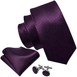 Barry.Wang Conjunto de corbata de seda Cuadrados de bolsillo Gemelos tejidos Lunares de diseñador Corbatas Púrpura