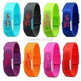 #2: Neo Gold Leaf Red Star Unisex Silicone Jelly Slim Set - 8 Sports Digital Led Bracelet Band Watch