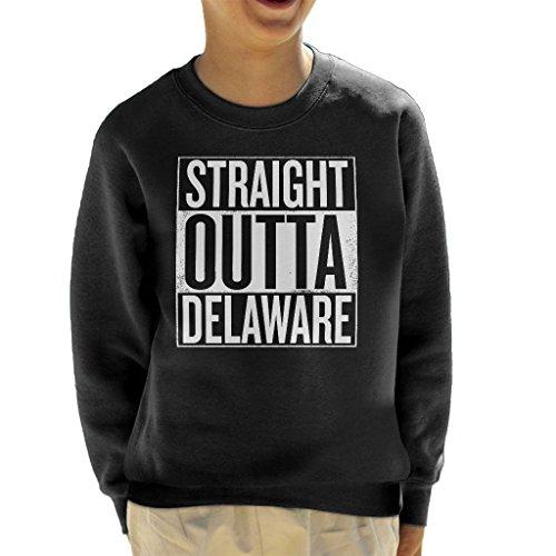 White Text Straight Outta Delaware US States Kid's Sweatshirt (Klassischen Sweatshirt Delaware)