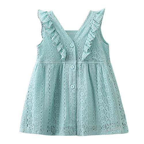 (JUTOO Kleinkind Kinder Baby Mädchen Kleidung ärmellose Spitze Rüschen Party Prinzessin Kleider (Blau,3T))