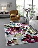 Teppich Designer Wohnzimmer Teppich Modern Trendiger Kurzflor Teppich Blumen Muster Multicolor - 120x170 cm - schadstofffrei -