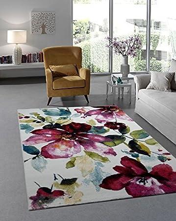 Teppich Designer Wohnzimmer Modern Trendiger Kurzflor Blumen Muster Multicolor