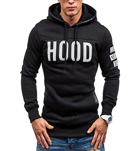 Rcool Männer schlanke Hoodie warmer Pullover Baumwolle Kapuzenpullover drucken Sweatshirt Pulli mit Kapuze Wintermantel Outwear Tops (M, Schwarz)
