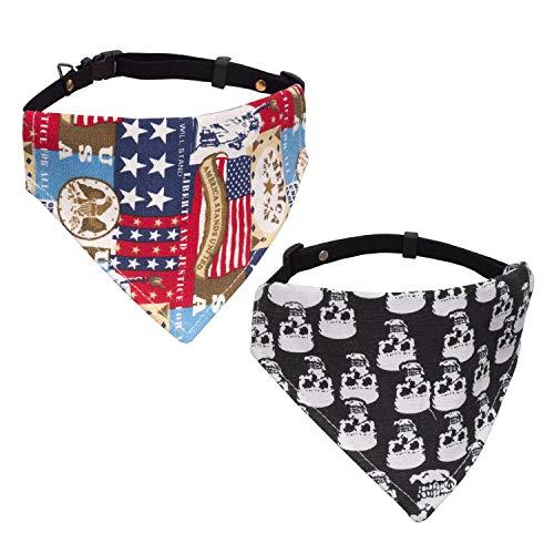 Vavopaw Hund Katze Bandana Kragen, 2 Stück Einstellbare Lätzchen Niedliches Halstuch Hund Katze Welpe Dreieck Schal Kragen, Mittlere Größe - Schädel & US-Flagge