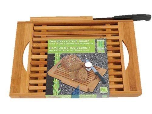 Bambus-Schneidebrett Holz, 37 x 22 cm x 3cm + Messer