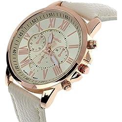 kingko® Genf römischen Ziffern Kunstleder analoge Quarz-Armbanduhr beige