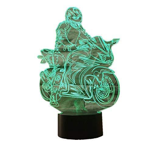 Wangzj 3d illusion lampe/led nachtlicht / 7 farbwechsel presse schalter dekoration lampen/geburtstag weihnachtsgeschenk fahrt motorrad