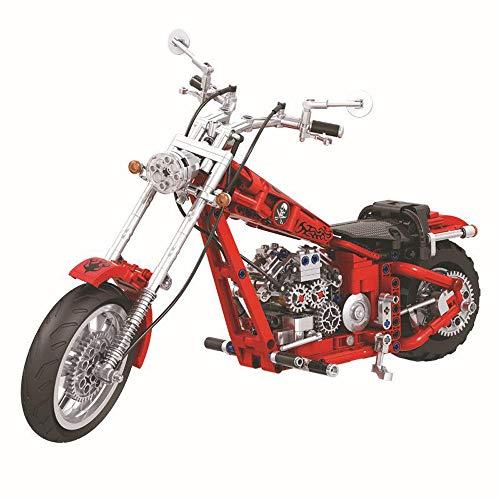 Technic Chopper Bausteine Motorrad 568 Teile,funktionierendes Getriebe,kompatibel mit L**O Technik
