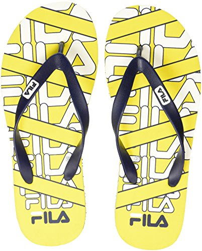 Fila Men's Toby Yellow / White / Navy Flip Flops Thong Sandals - 8 UK/India (42 EU)  available at amazon for Rs.249