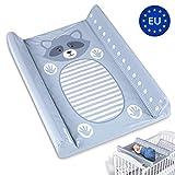 Wickelauflage abwaschbar Wickelunterlage Auflage für Wickelkommode 50 x 70 cm - Wickeltischauflage changing mat für baby Wickeltisch grau Messlatte