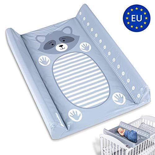 Wickelauflage Abwaschbar Wickelmulde - Wickelunterlage Wickelbrett für Kinderbett mit 4 Bodenstopper Wickelaufsatz 70 x 50 cm Grau mit Waschbär