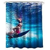 GQAI Tela BañO De Lujo Estrella Infantil Impermeable Cortina De Ducha Decorativa 3D,Ocean,180 * 200cm