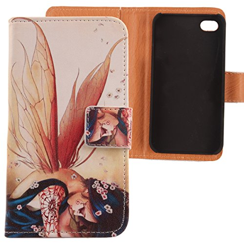 Lankashi PU Etui Housse Flip Coque Cover Cuir Case Protection Pour Apple iphone 5C Wing Girl Design Wing Girl
