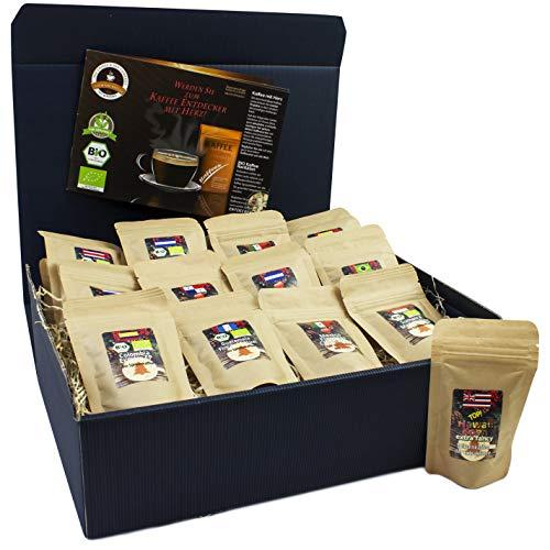 C&T Kaffee-Geschenkset Bio/Fair 13 Sorten á 25 g (Ganze Bohnen) 2019 mit 13 Biologischen, Raritäten- und Fair gehandelten Kaffees plus Überraschung | Weihnachts-geschenk | Geschenkbox