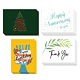 LATIT Greeting Card Assortment, with Envelopes for All Occasion, 40 Bulk Mixed 4 Designs Included Happy Birthday,Anniversary,Thank You,Merry Christmas, Blank Inside with Stickers, 5 x 7 inches
