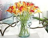 SWECOMZE 15pcs Künstliche Blumen,Real Touch Latex Künstliche Calla-Lilien für Zuhause Hochzeit Party Dekor Arrangement (Rot + Gelb)